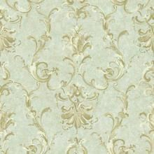 Aquamarine NV6031 Painterly Ornamental Damask Wallpaper