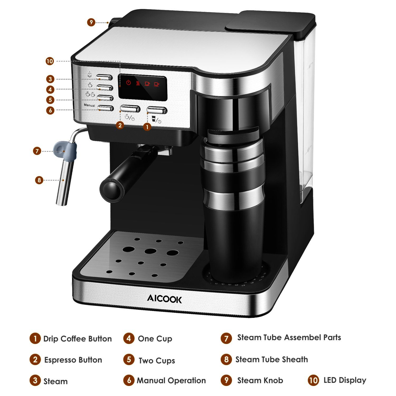 AICOOK Espresso and Coffee Machine 3 in 1 Combination 15