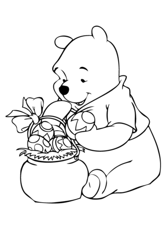 winnie with easter basket coloring page