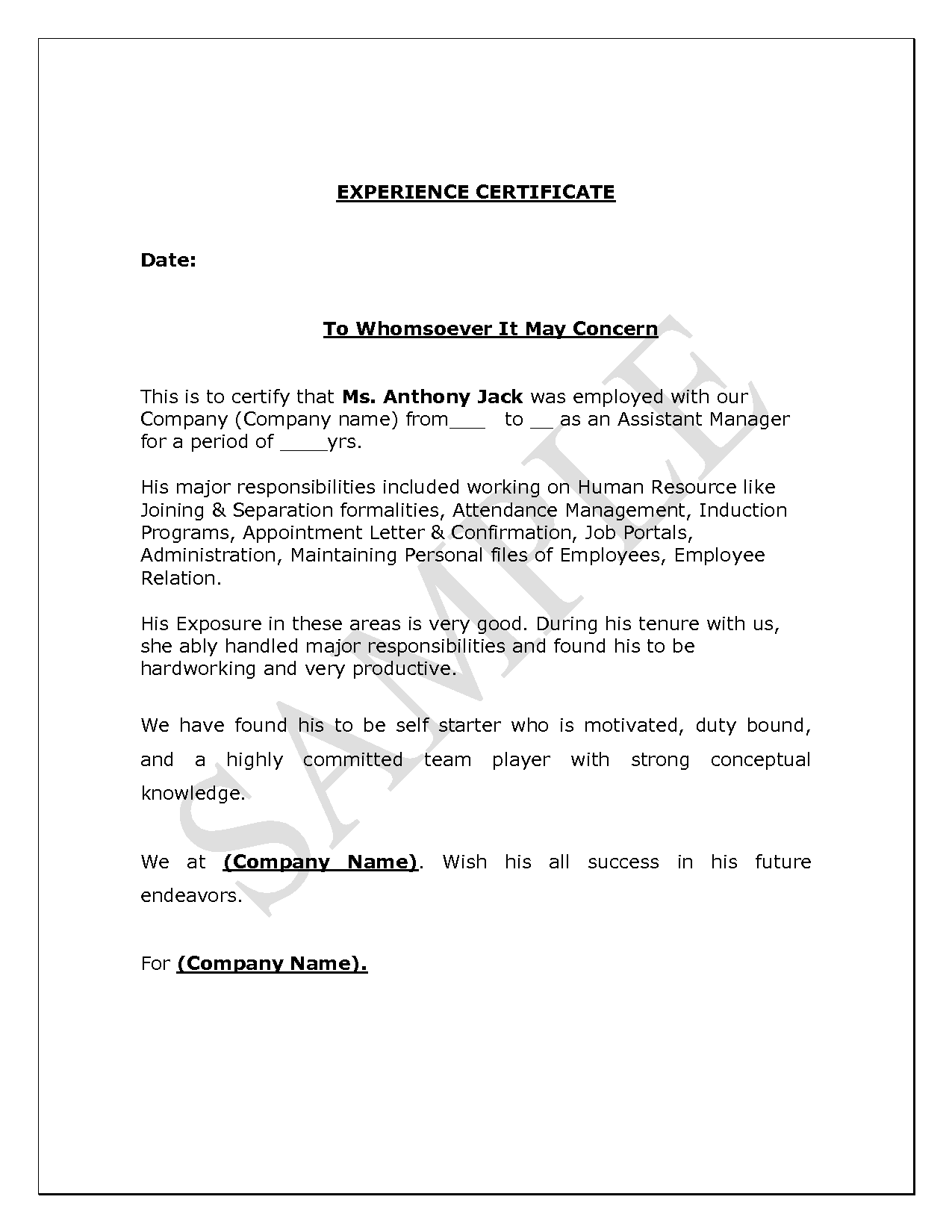 Experience Letter Doc | Experience Certificate Format In Word Free Download