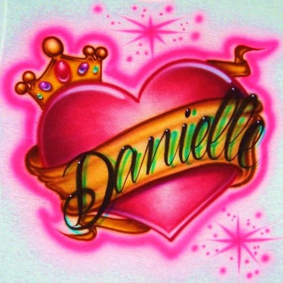 e60dfc38 Airbrush T Shirt Heart Crown With Name, Airbrush Heart, Airbrush Heart With  Crown And Ribbon, Airbrush Name, Airbrush Shirt, Airbrush