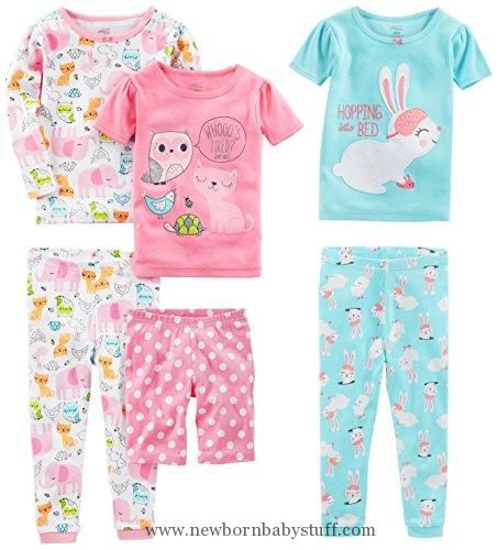 548ed610f3 Baby Girl Clothes Simple Joys by Carter s Toddler Girls 6-Piece Snug Fit  Cotton Pajama