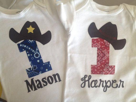33036acb6388f FAST SHIPPER! NEW Cowboy Twin, Twins, Baby Boy and Baby Girl First Birthday  One Piece, bodysuit, Shirt, 1st Birthday