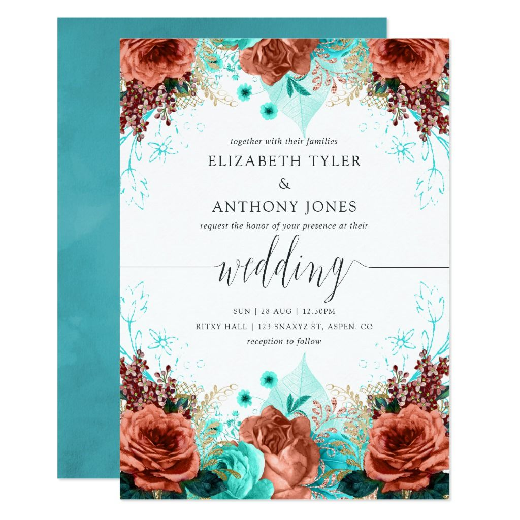 Turquoise and Coral Rustic Floral Wedding Invitation | Zazzle.com