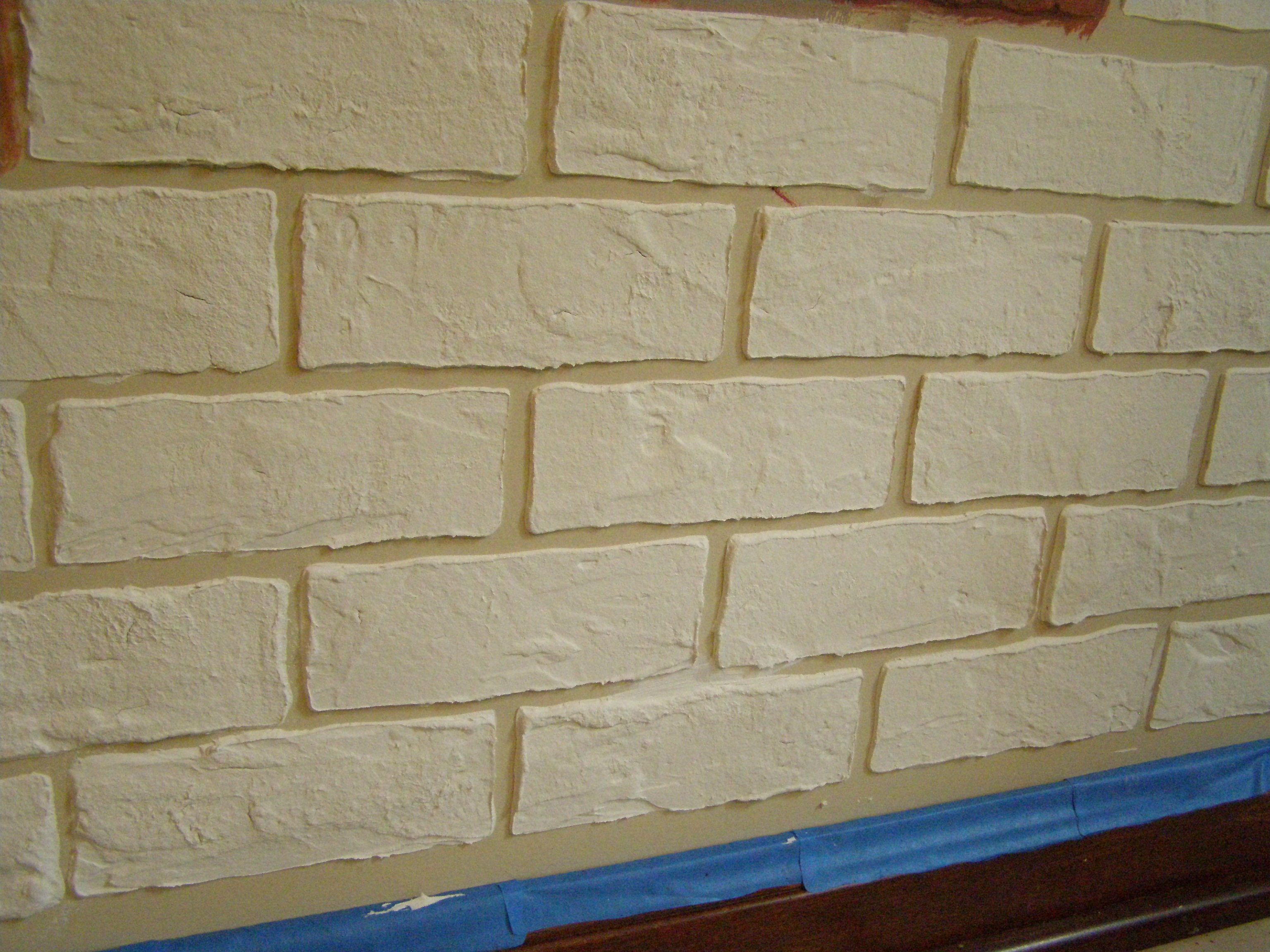 Made Brick Stencil Then Covered With Joint Compound Once Dry I Faux Painted Each Brick To Give A Realistic Look Diy Brick Wall Faux Brick Walls Diy Plaster
