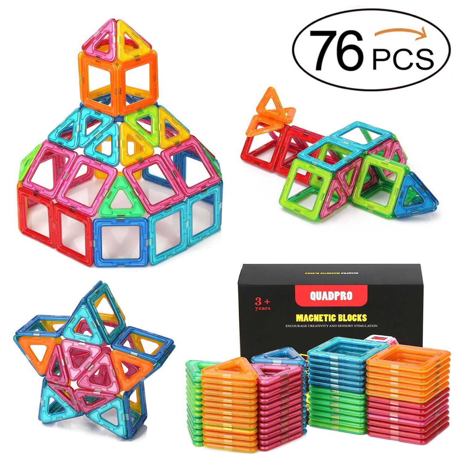 Amazon Quadpro 76 Piece Magnetic Blocks Building Toys For