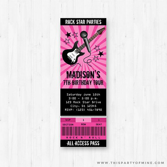 Rock Star Concert Ticket Invitation PRINTABLE Girl Pink Rockstar