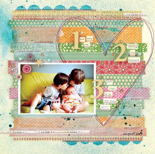 GORGEOUS art by the fab JA. <3 paper strips and spray ink #scrapbooking
