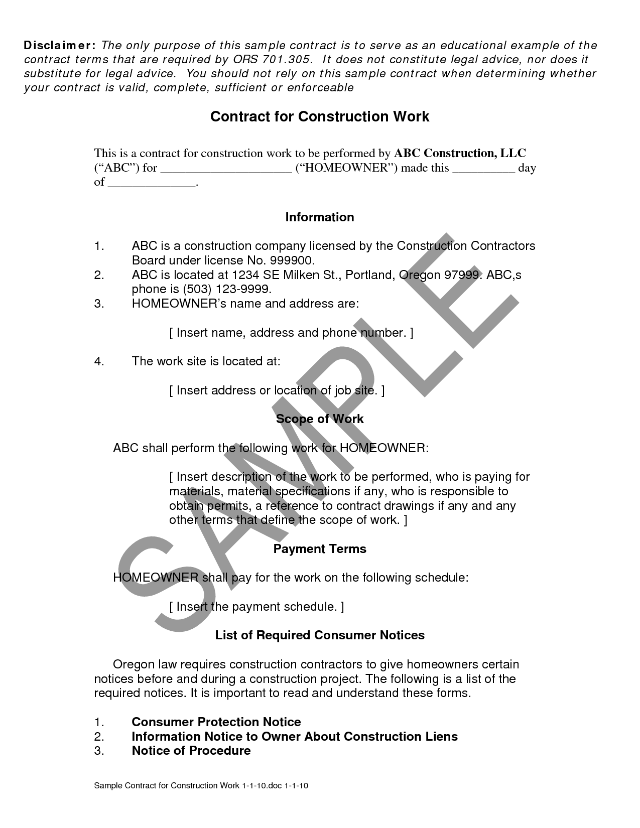 Construction Company Contract Template Construction Contract
