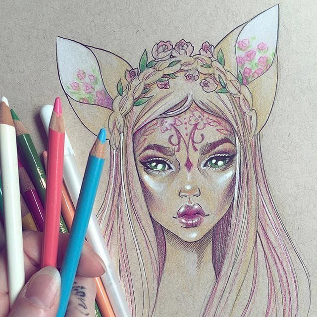 Self taught artist and unicorn gwen darcy will enchant you with her tattooed fantasy ladies beautifully drawn in ink and pencils