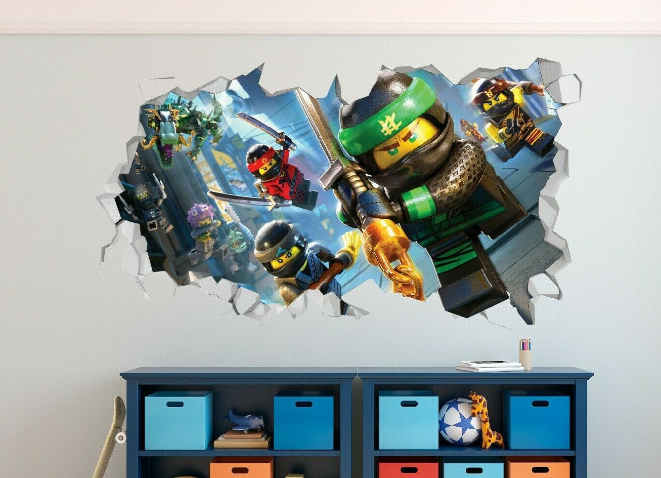 Lego Ninjago Group Action Custom Wall Decals 3D Wall Stickers Art Art GS140 – X-Large (Wide 50 x 30 Height)