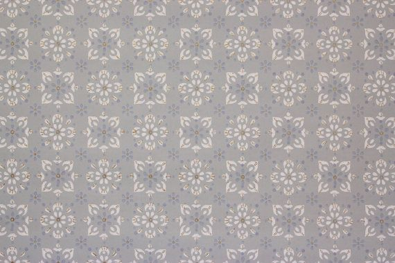 1950s Vintage Wallpaper White And Blue Geometric On Light