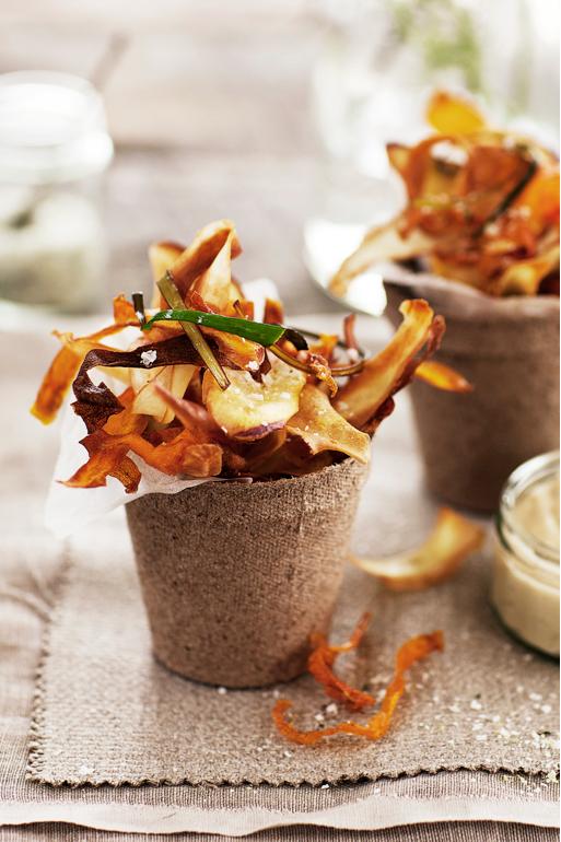 ... salted veggie chips ...
