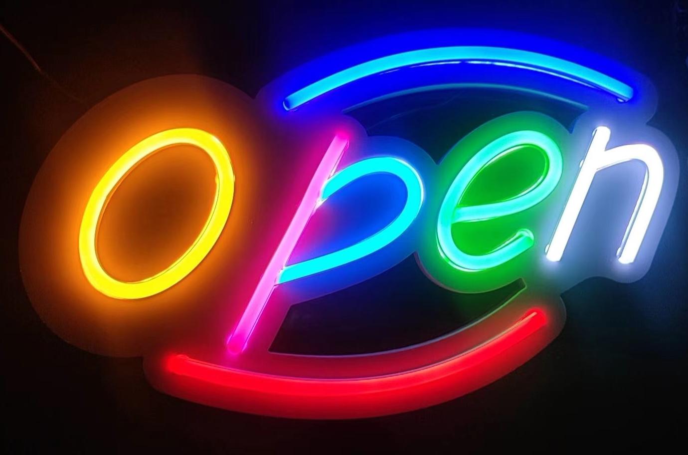 Open Sign Neon Light Custom Neon Sign Open Neon Light Bar Cafe Restaurant Open Logo Hashtag Shop Custom Neon Signs Neon Signs Neon Lighting