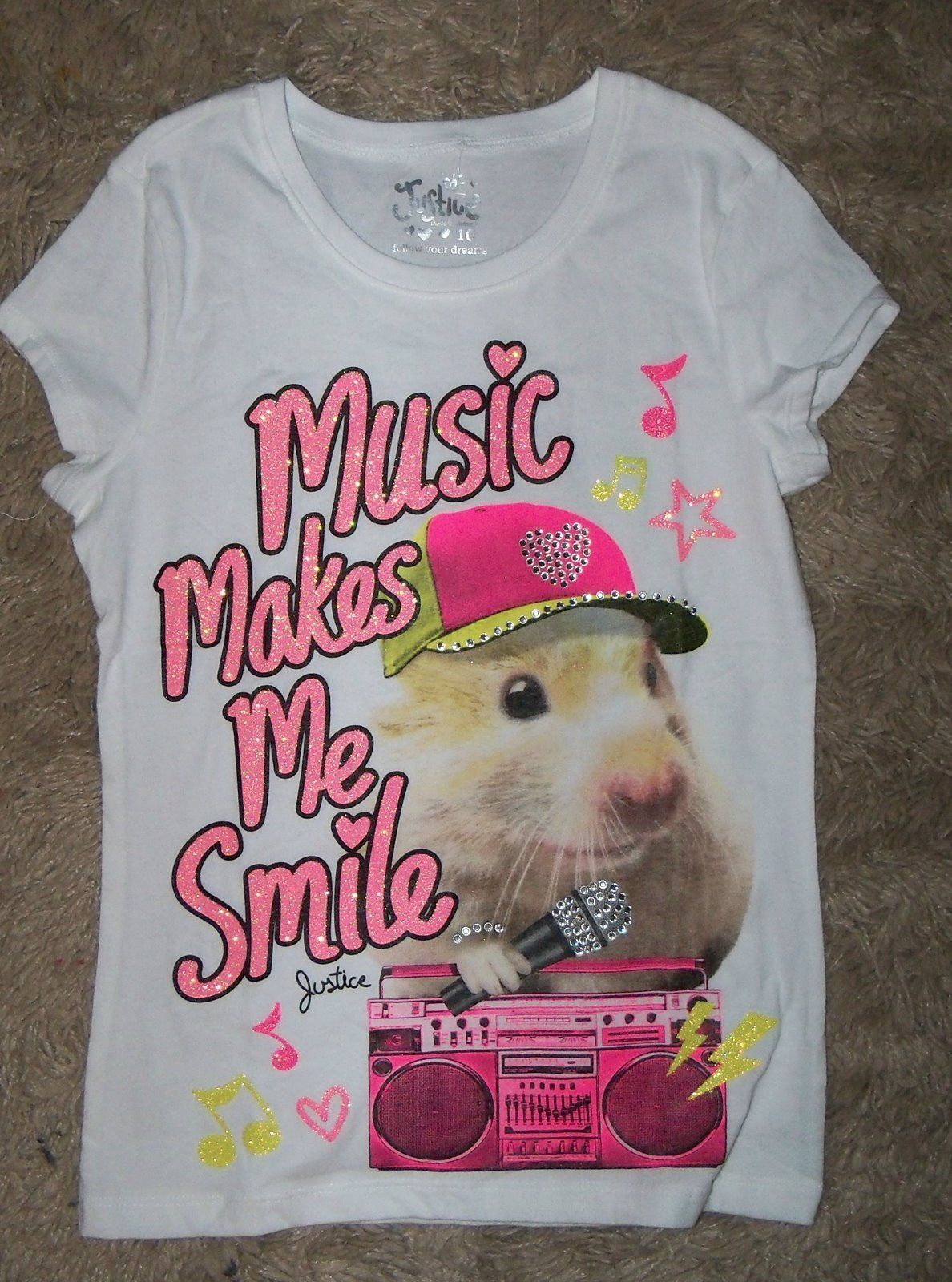 New Girls Sz 10 Justice Music Makes Me Smile Bling Hamster Shirt Girls Graphic Tee Girls Outfits Tween Girls Shopping