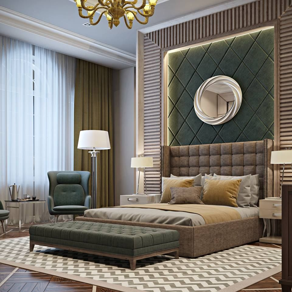 Dark green leather wall panels  bedroom  Bedroom decor