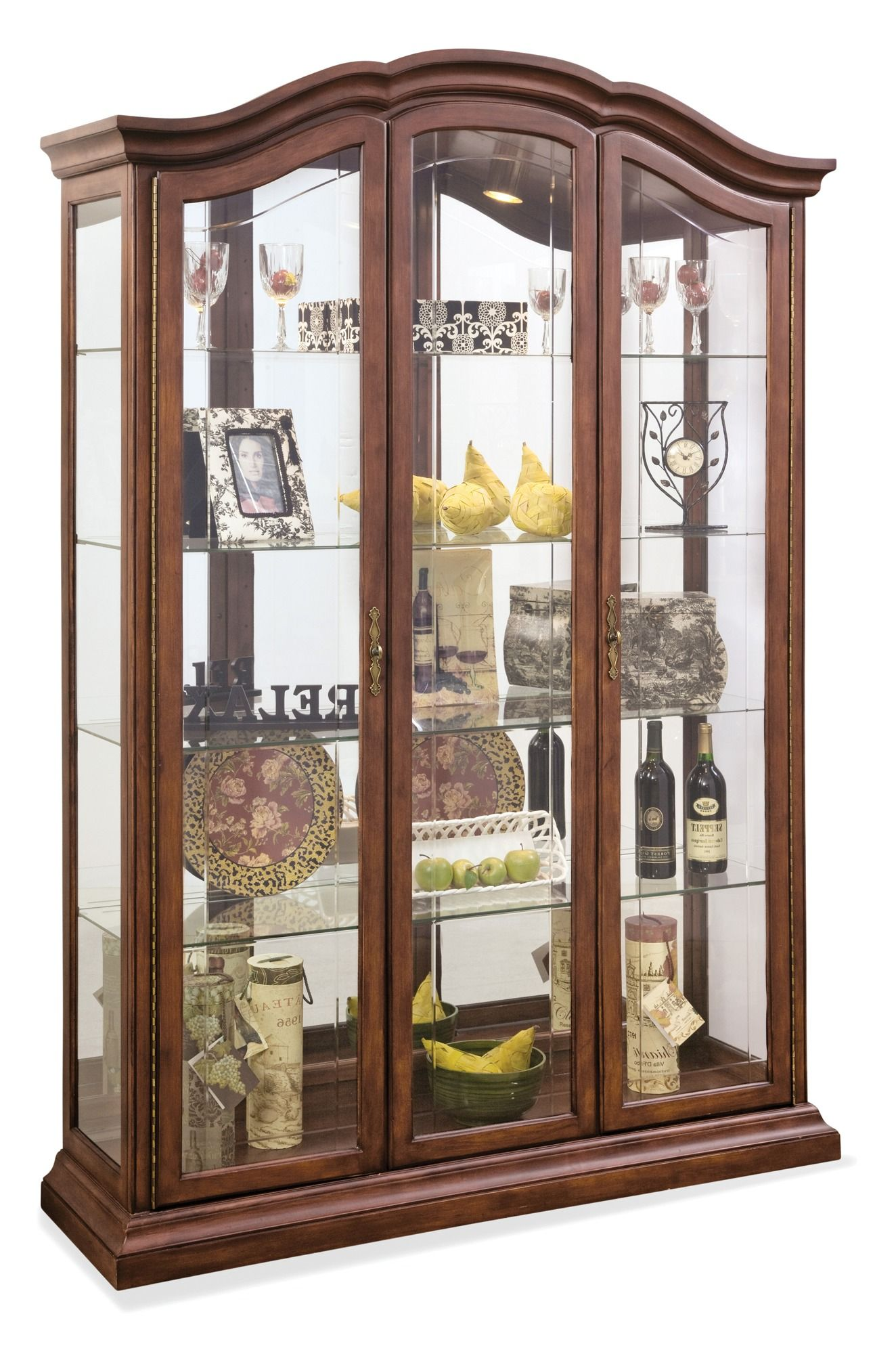 Oxford Large Curio Cabinet In Cherry Philip Reinisch Home Gallery Stores Glass Cabinet Doors Curio Cabinet China Cabinet