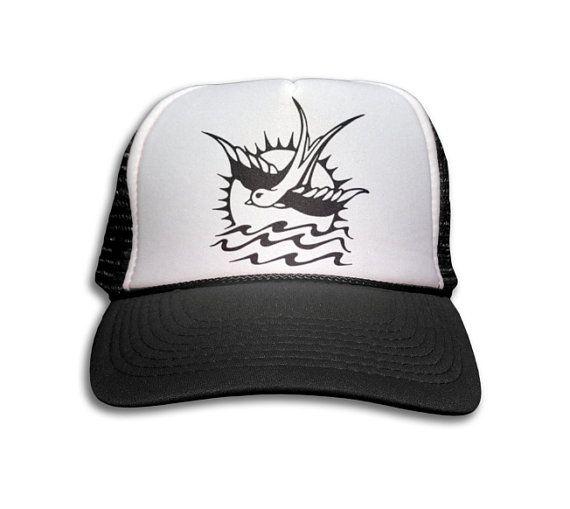 9257806d33909 Trucker Cap - Sparrow Tattoo Trucker Hat - Snapback Mesh Cap - Retro ...