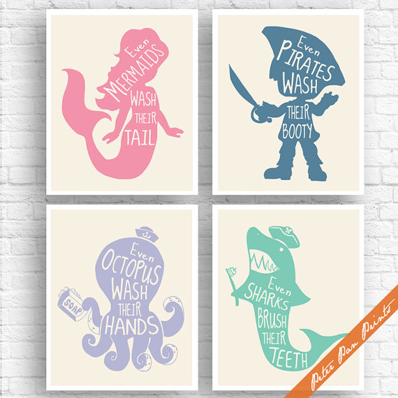 Unisex Kids Funny Bathroom A Set Of 4 Art Print Unframed Rose