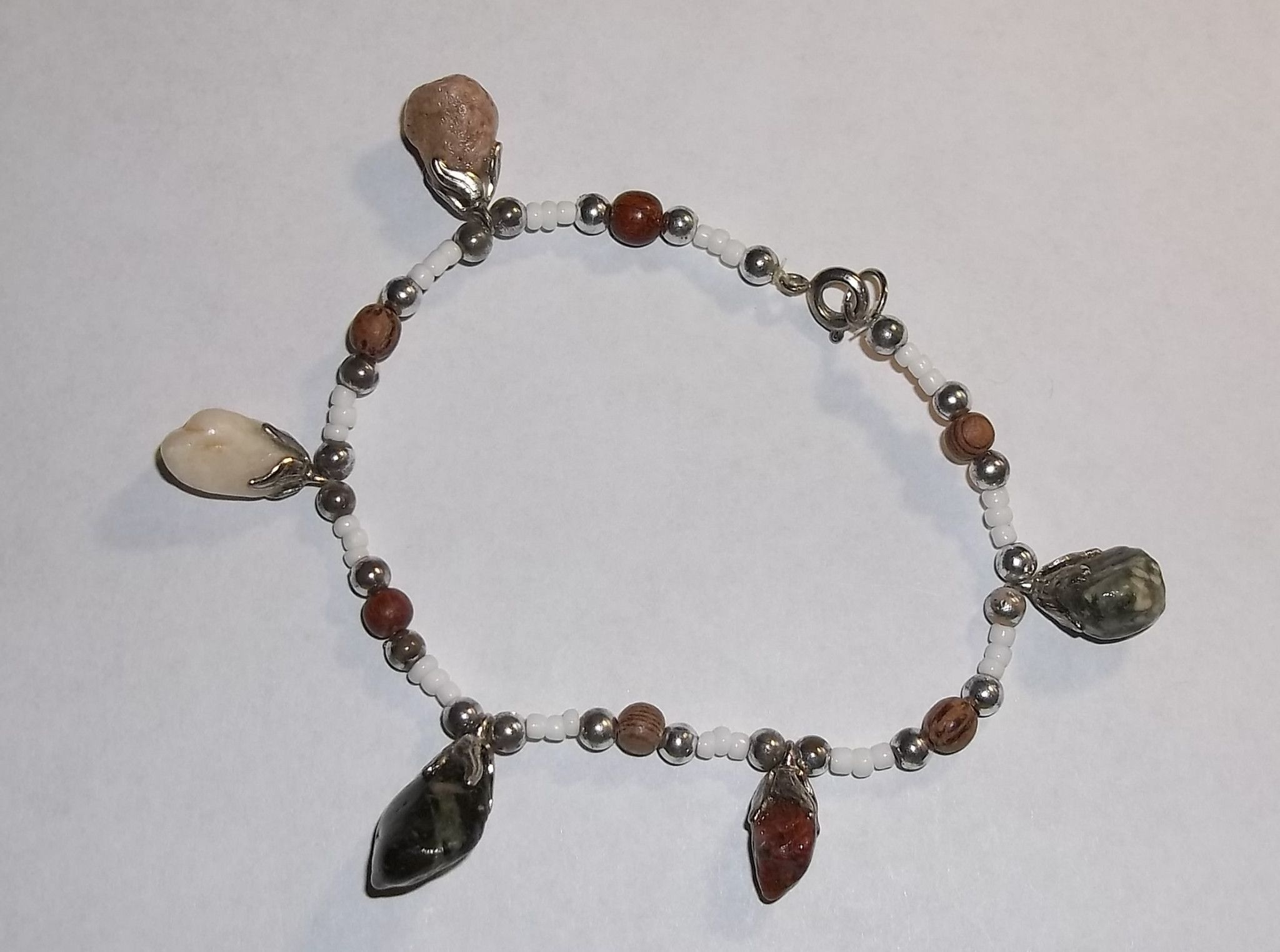 Vintage Bohemian Style Beaded Hand Crafted Bracelet with Natural Gemstone Charms 7 1/2""