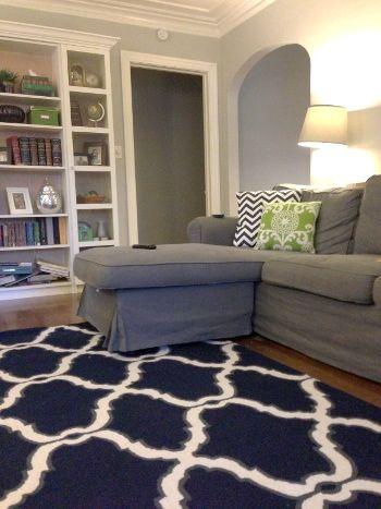 Navy Rugsusa Hawa Rug Home Sweet Home Navy Couch Grey