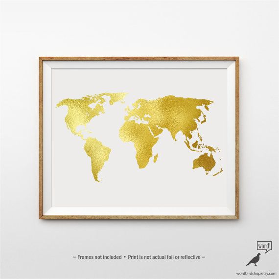 Gold world map poster matte gold print large world map print gold world map poster matte gold print large world by wordbirdshop gumiabroncs Gallery