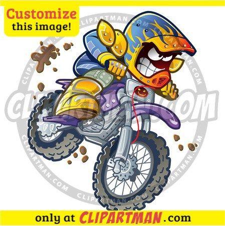 Motocross Cartoon Clipart Bmx Dirt Bike Rider Clipartman Com