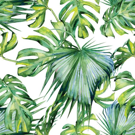 Tropical Palm Tree Pattern Peel And Stick Wallpaper Peel And Etsy In 2021 Plant Wallpaper Tropical Illustration Tropical Wallpaper