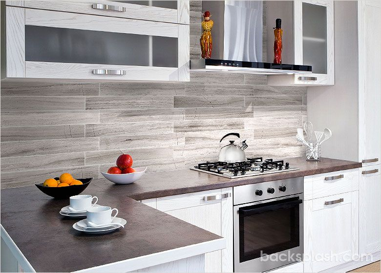 Modern silver gray long subway marble backsplash tile for Contemporary kitchen tiles ideas