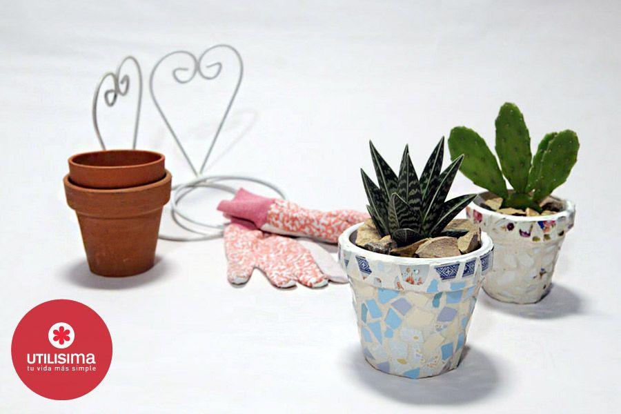 Macetas con azulejos hecho en casa for Utilisima jardineria