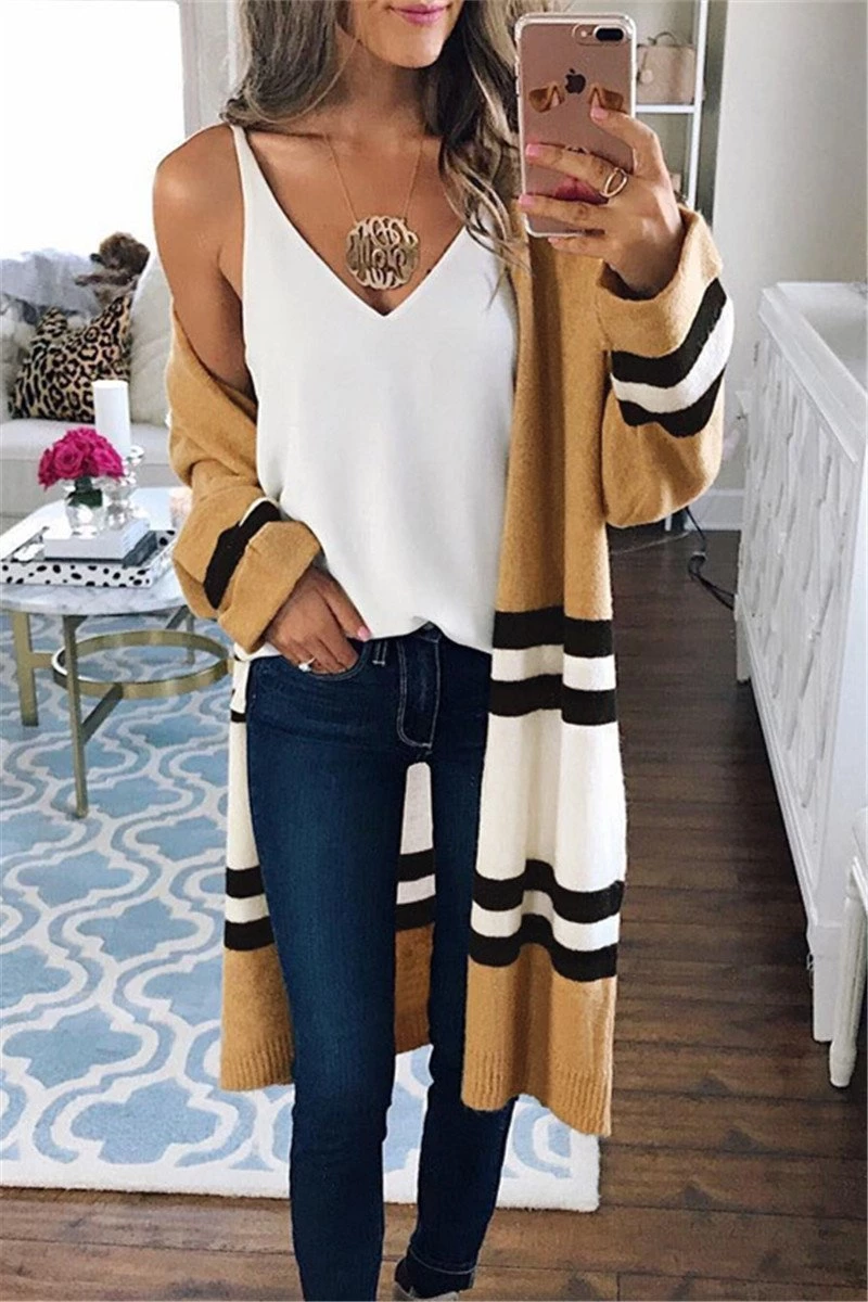Stylish Loose Hit Color Knitted Cardigan