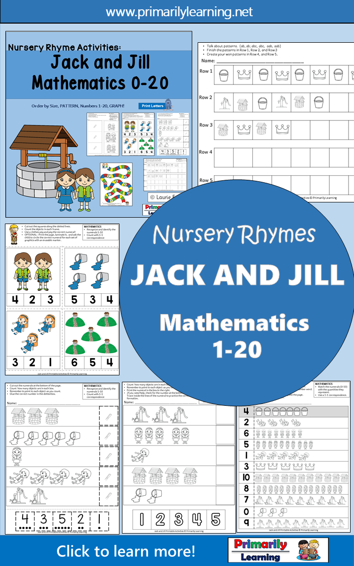 Nursery Rhymes Number Activities: Jack and Jill Math | ENGLISH Cover ...