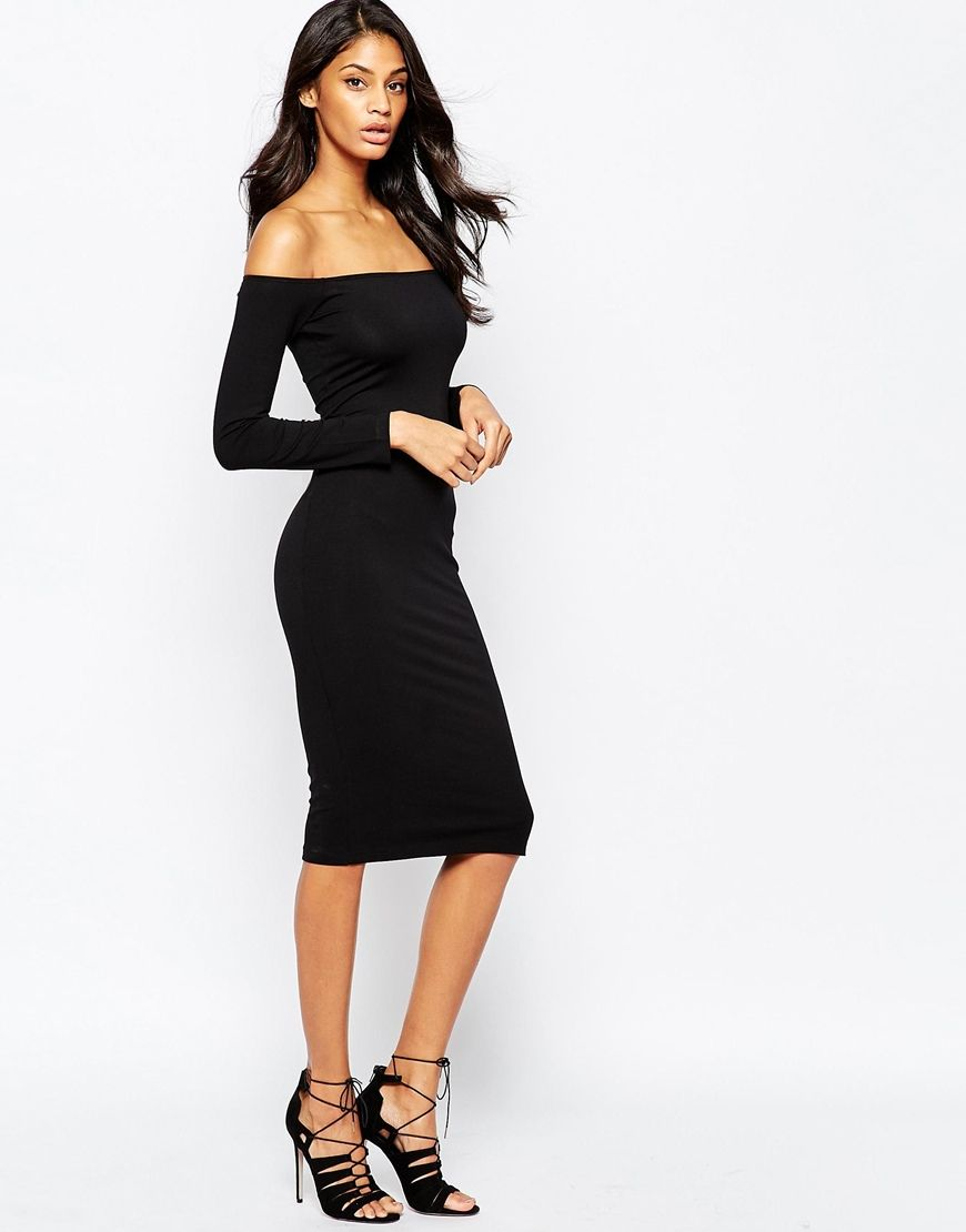 2d1b9c096976 Long Sleeve Midi Off The Shoulder Bardot Bodycon Dress | Basics for ...