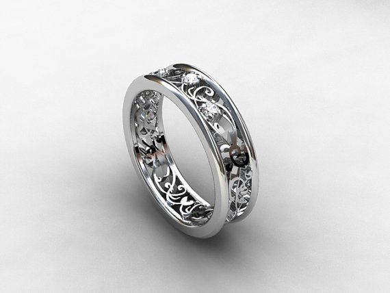 White Shire Ring Filigree Wedding Por Torkkelijewellery