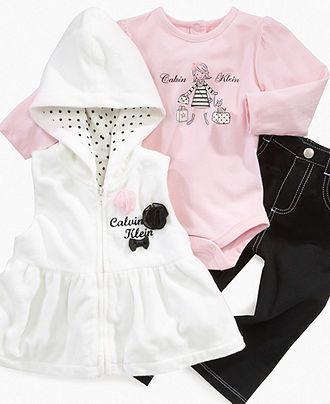 Calvin Klein Baby Set Baby Girl 3 Piece Vest Set Kids Macy S Calvin Klein Baby Kids Outfits Newborn Girl Outfits