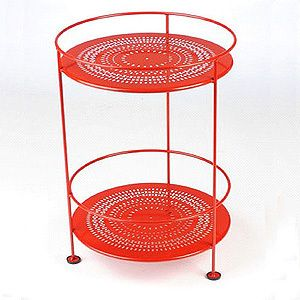Small outside double tiered table in poppy red for your porch between your bistro chairs.