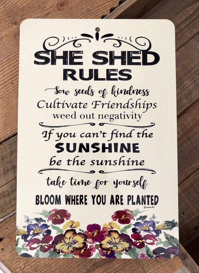 She Shed Rules Sign Garden Sign Gardening Quote Garden ...