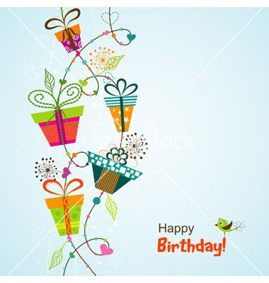 Template greeting card vector by Tolchik on VectorStock - birthday wish template