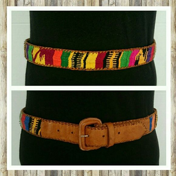 """Colorful Leather Belt Sz 34 Colorful Leather Belt Sz 34 M. Holes on leather go from 31 to 35 1/5"""". These are frequently made in Guatemala but this belt does not specify country of origin. Excellent condition. Sorry no trades. Imported Accessories Belts"""