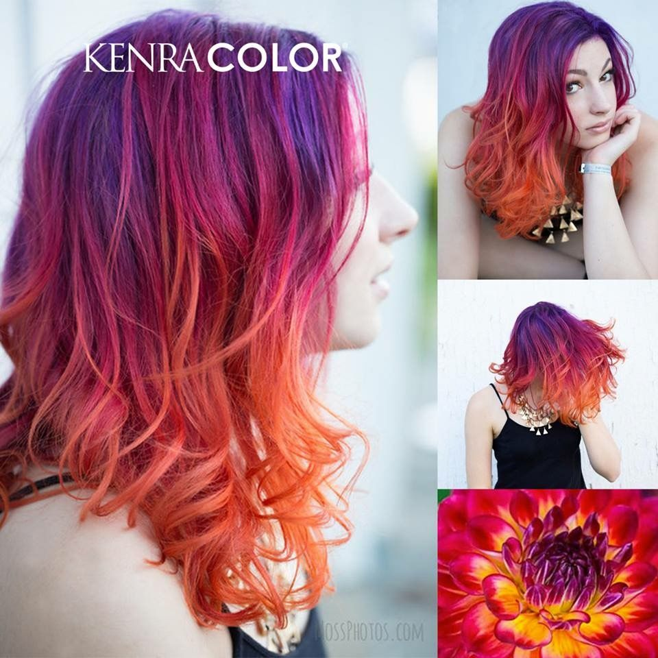 Kenra color Purple red orange yellow ombre hair in 2019