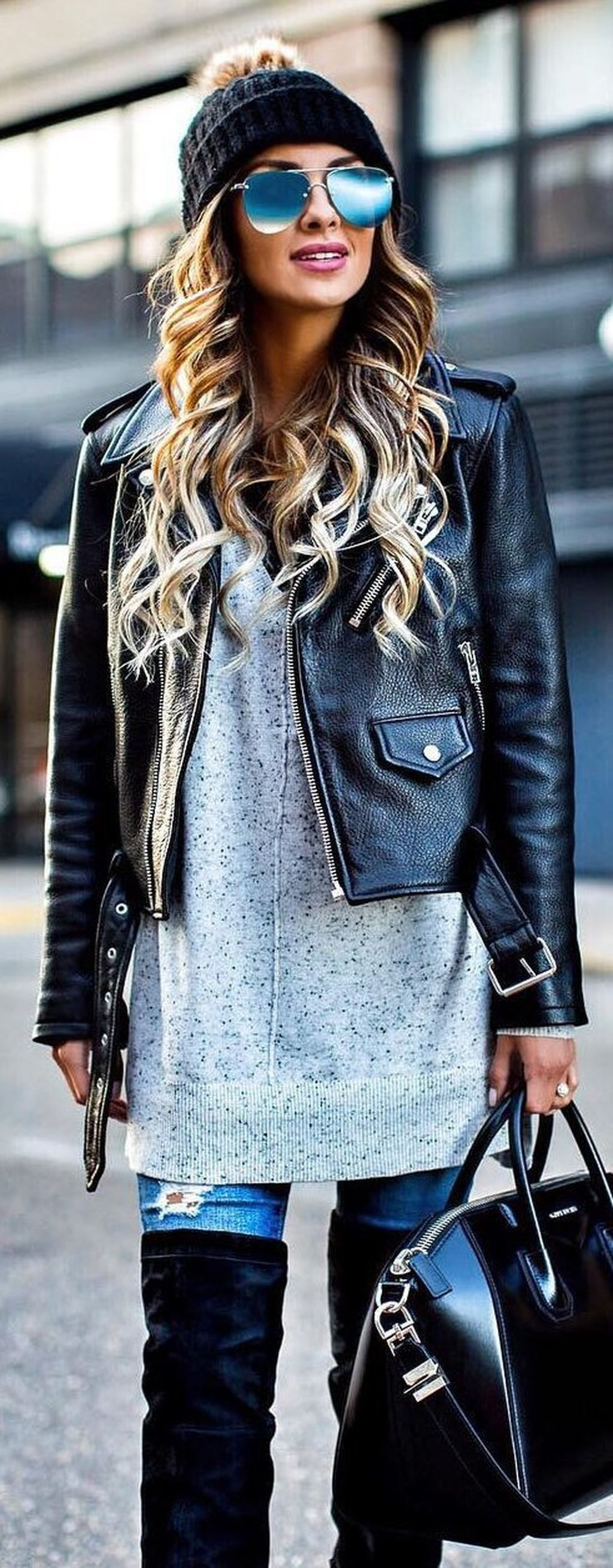 Classy and casual women winter leather jacket outfits ideas