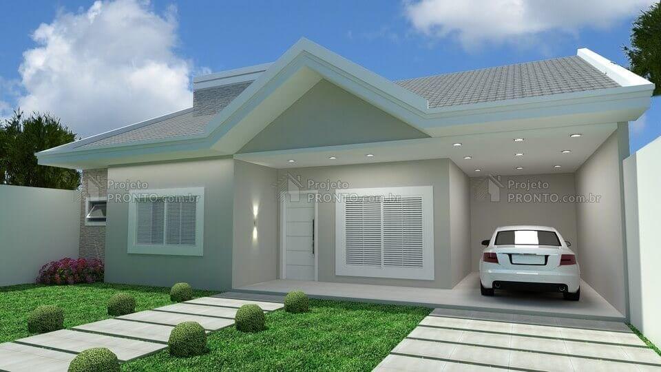 Projeto c026 alisson projetos de casas casas com 3 for Fachadas de casas modernas tipo americano