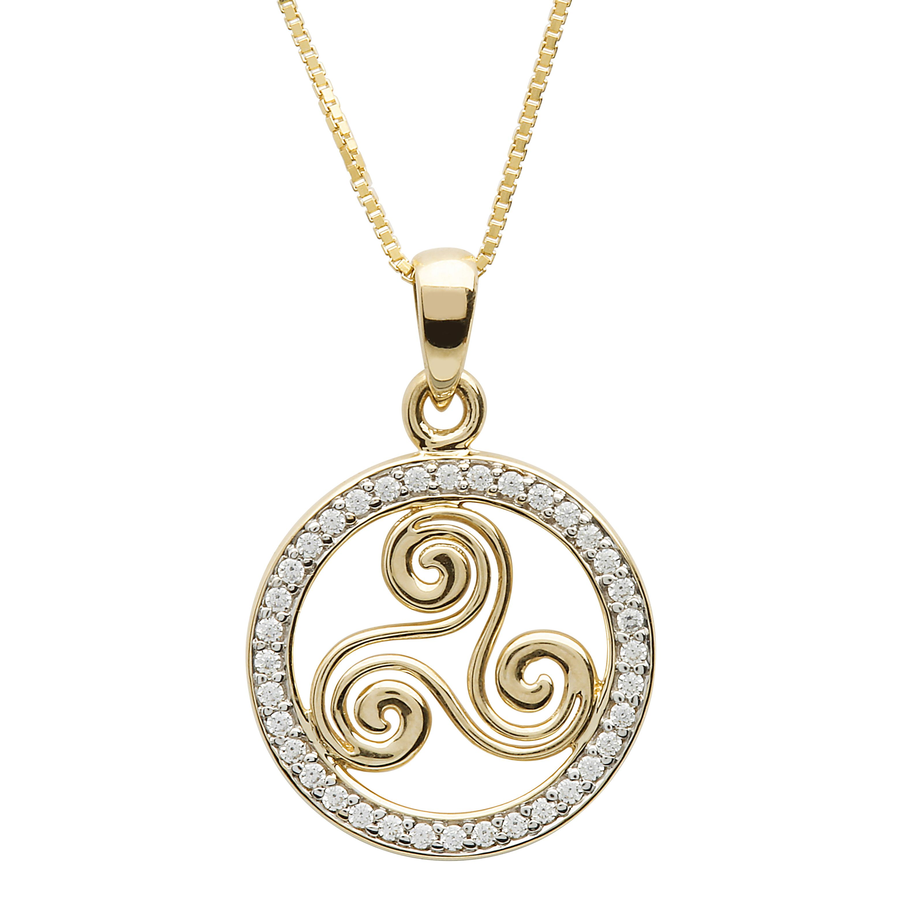 Triskele Necklace Gold Plated Irish Made Jewelry