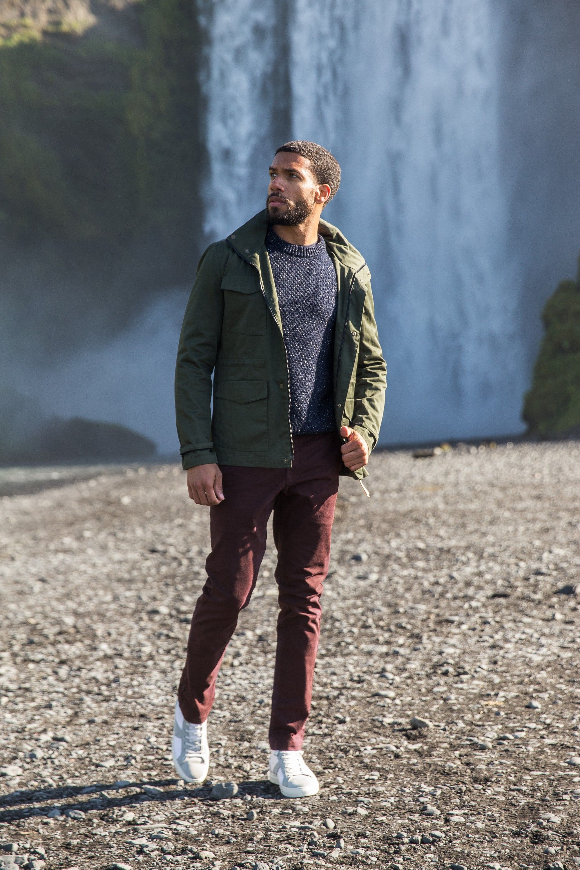 7cfebec614462 look urbain pull donegal Pantalon Vert, Cuir Blanc, Veste Militaire, Look  Homme,
