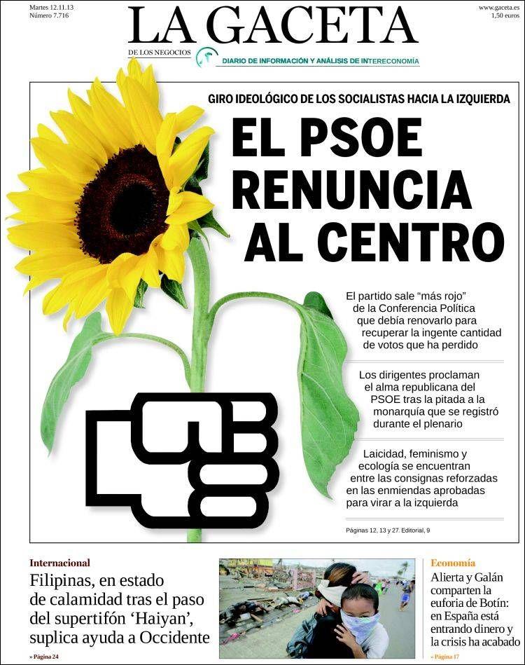 Los Titulares y Portadas de Noticias Destacadas Españolas del 12 de Noviembre de 2013 del Diario La Gaceta ¿Que le pareció esta Portada de este Diario Español?