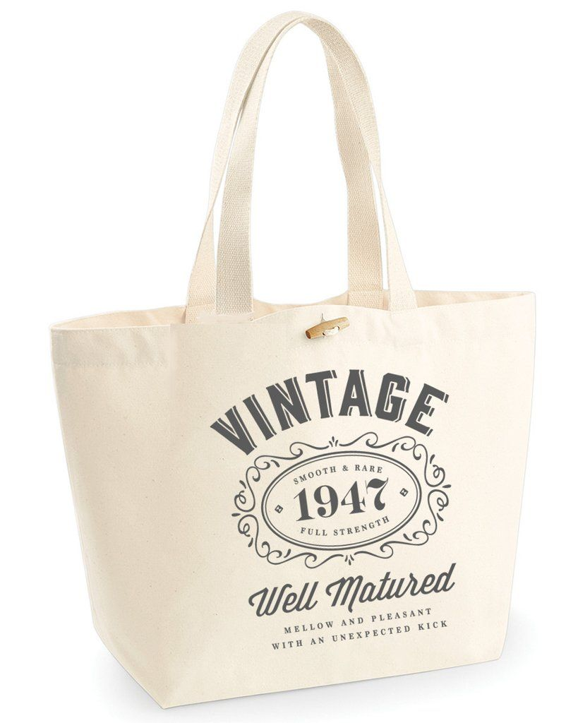 70th Birthday Idea Bag Tote Shopping Great Present Gift 1947 Vintage Bourbon