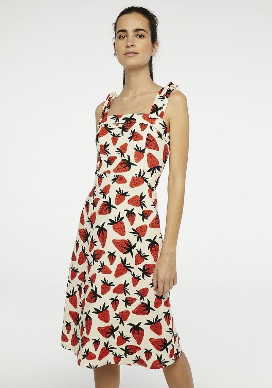 Strawberry Midi Dress Yellow Striped Dress Poppy Print Dress Midi Dress [ 1142 x 800 Pixel ]