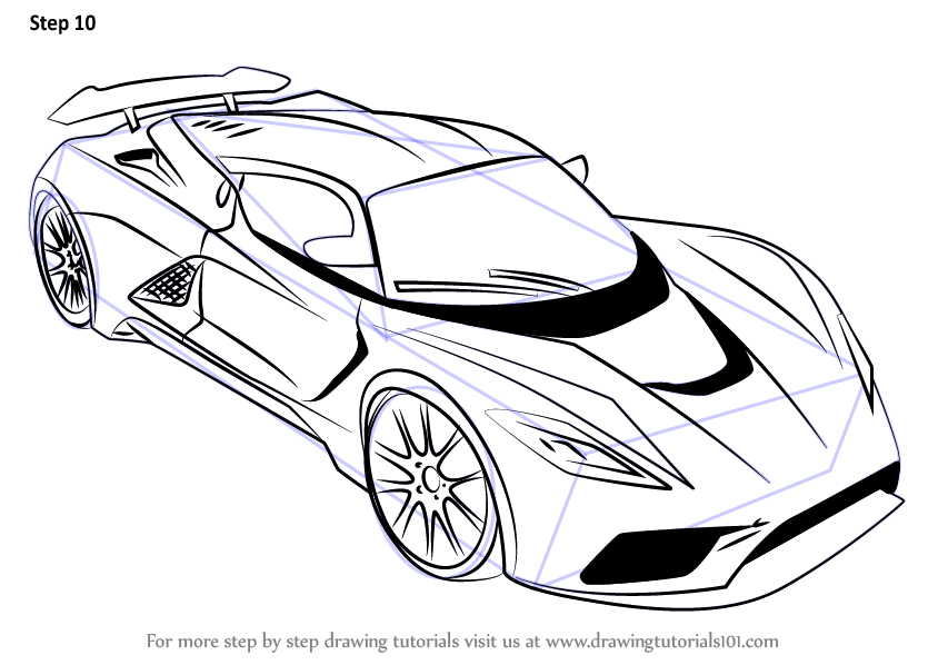 Learn How to Draw Venom F5 (Sports Cars) Step by Step : Drawing ...
