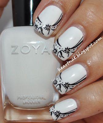 White Nail Polish With Black Design Nails Manicure Nailart Nail