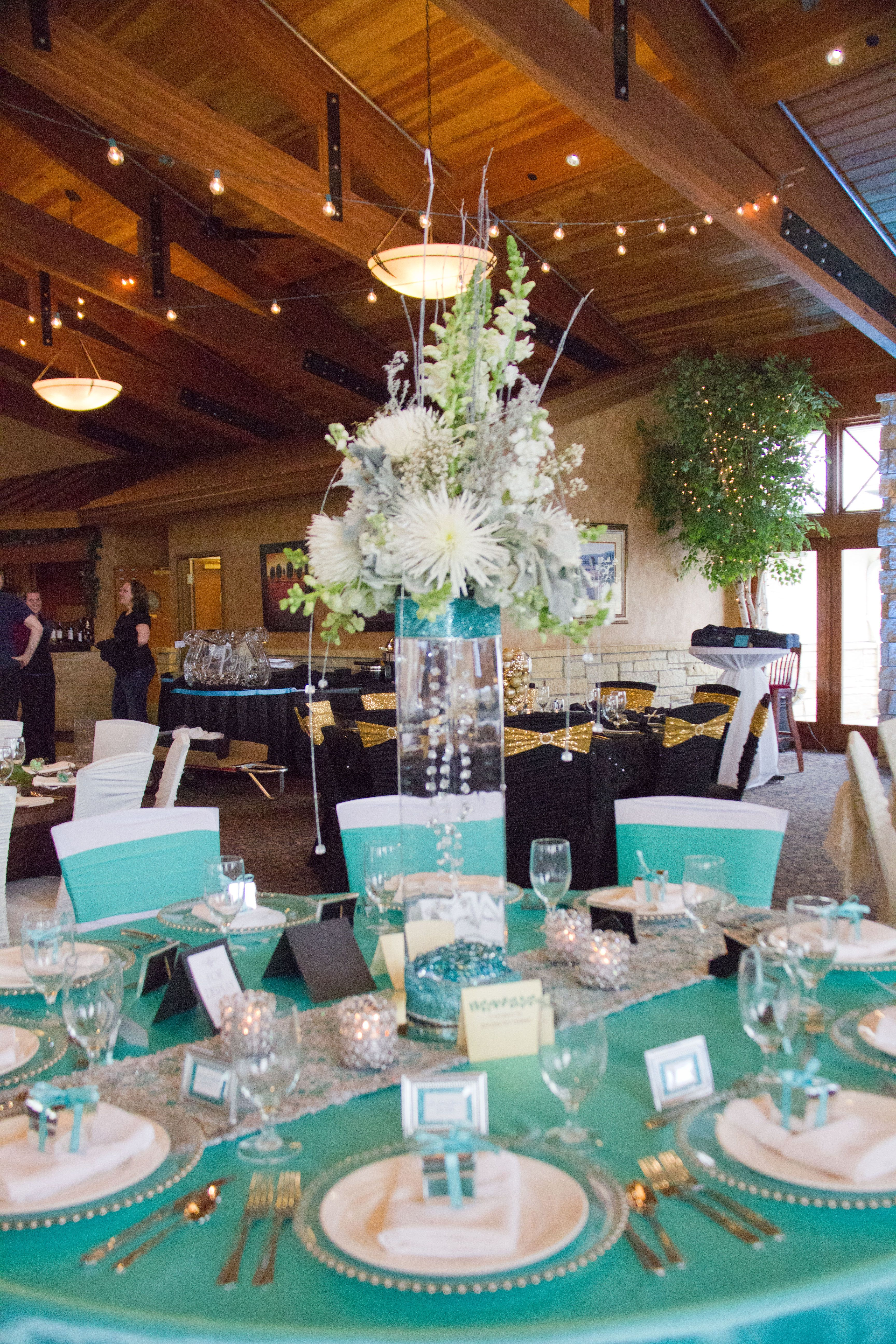 Tiffany Blue Wedding Chair Covers Checked White Ruched Cover Spandex Sash And